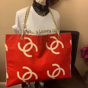 Authentic Chanel canvas and leather xxl tote